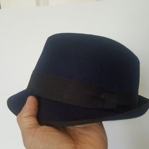 J Crew Wool Fedora Hat Navy Blue M/L